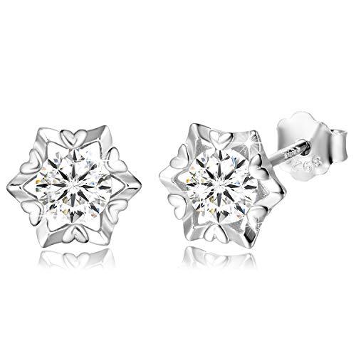 Aroncent Fashion 925 Sterling zilveren prijs gesneden zirkonia oorstekers piercing voor vrouwen