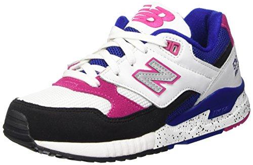 New Balance Women's 530 90s Running White/Black-Pink-Blue Sneakers 6