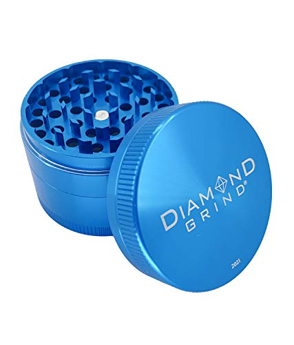 """Diamond Grind 4 Piece Aluminum Herb Grinder with screen 56mm (2.25"""") TURQUOISE"""