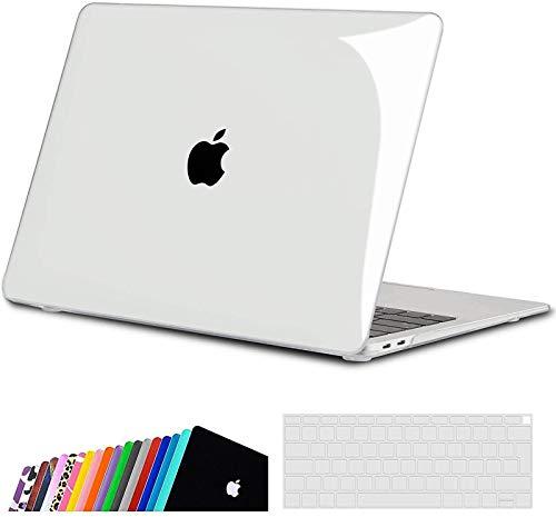 iNeseon Funda para MacBook Air 13 (A2337 M1/ A2179/ A1932), Delgado Carcasa Case Duro y Cubierta del Teclado para 2020 2019 2018 MacBook Air 13 Pulgadas con Touch ID, Cristal Transparente