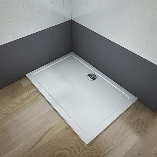 Aica Sanitär Duschtasse Duschwanne 100x90cm Rechteck Weiß inkl.Ablaufgarnitur mehrere Außenmaßen