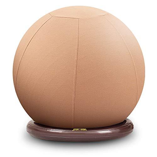 Sillón de balón deportivo brillante, pelota de yoga de estabilidad con funda lavable a máquina, base de anillo, silla ergonómica, tamaño 55 cm, albaricoque, bomba de aire rápida incluida...