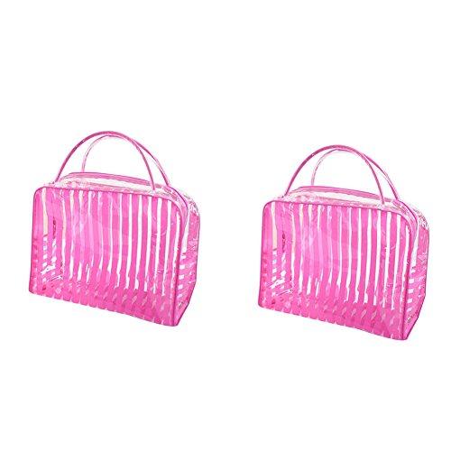 Vi.yo 2 Pcs PVC sac cosmétique en plastique ensemble maquillage transparent sac clé accessoires sac de rangement pour femmes dames (style 1)