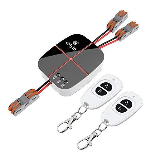 eMylo Smart Wifi RF Relé Switch Módulo de control remoto inalámbrico 2 canales AC 220V Temporizador de salida de automatización 433Mhz Soporte Echo Alexa/Google Home/IFTTT por teléfono