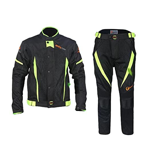 WFGZQ Trajes De Moto Hombre 2 Piezas con Proteccion Chaqueta De Moto Pantalones Textil Impermeable