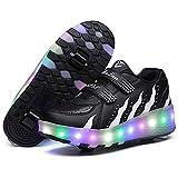 XJBHD Scarpe LED per Ragazze Unisex, Scarpe da Skateboard a LED Light-UP per Bambini,Ruote Doppie, Luce 7 Colore Ricaricabili USB,Scarpe da Cross Sportive All'aperto