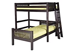 Camaflexi Mission Style Solid Wood L Shaped Loft Bed Twin Over End Angled Ladder Cappuccino