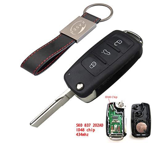 DDlong 434MHz 3 Buttons Keyless Uncut Flip Smart Car Remote Key Fob with ID48 Chip 3C0959752BA for VW Passat B6 3C B7 Magotan CC