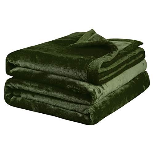 PiccoCasa Kuscheldecke Tagesdecke Fleecedecke mit Rand Microfaser Decke Weiche Warme Leichte Decke 330GSM für Bett Sofa usw. Grün 170x230cm