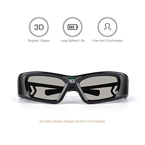 APEMAN 3D Glasses DLP Link Active Shutter 3D Glasses LCD Lens High Brightness Contrast Rechargeable Battery 50 Hours Using Compatible with All 3D DLP Projectors (2 Pack)