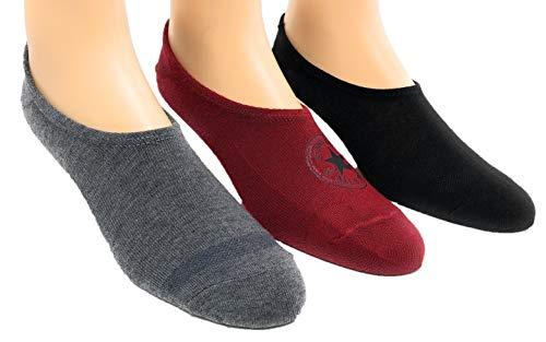 Converse Men's 3 Pack Flat Knit Ultra Low Socks No Show Made For Chucks Shoe Size 6-12 (Brick/MGH/Black)