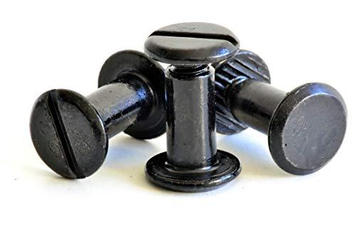 Buchschrauben schwarz / 5mm / Schraubnieten/Gürtelschrauben / 20 Stück (5mm)