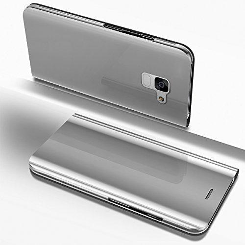 Ysimee Coque Samsung Galaxy A8 2018, Étui Folio à Rabat Clear View Case Couleur Unie Translucide Miroir Housse en PC Fonction Support Ultra Mince Flip Portefeuille Coque pour Galaxy A8 2018, Argent