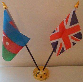 Azerbaïdjan Azerbaijani drapeau Union Jack 2 amitié Tableau d'affichage avec Base dorée