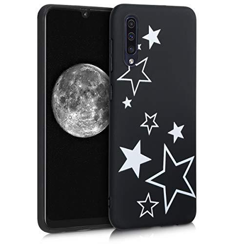 kwmobile Funda Compatible con Samsung Galaxy A50 - Carcasa de TPU Varias Estrellas en Blanco/Negro