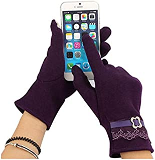 Fashion Women Touch Screen Lace Cotton Winter Warm Gloves Motorcycle 4 Colors