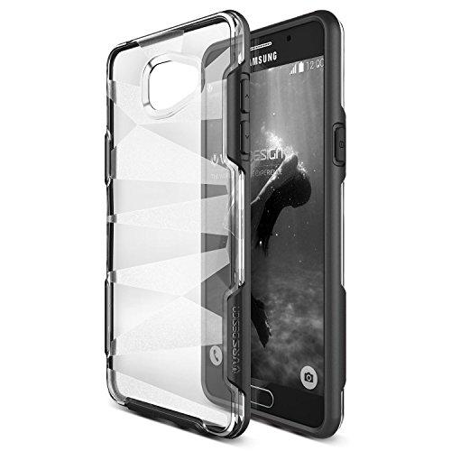 VRS DESIGN URCOVER Custodia Ultra Slim Samsung Galaxy A7 2016 Shine Guard   Back Cover Trasparente Rigida con Bumper Antishock Nero   Protezione Retro Ultra Resistente
