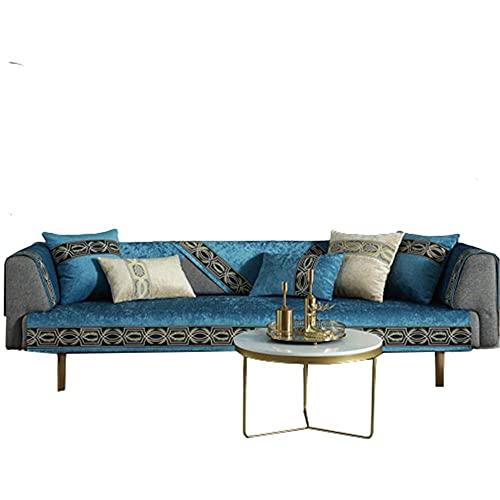 Moderno Color sólido 1 2 3 4 plazas Cojín para sofá Funda Protectora de Muebles para Mascotas y niños,Azul Hielo,70 * 180 cm