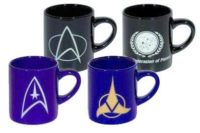 STAR TREK - Kaffee Becher - Tassen Set 4teilig - UFP Logo, TNG Communicator- Klingon Logo - Command Logo