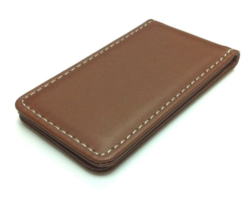 Fine Leather Magnetic Money Clip - Beige