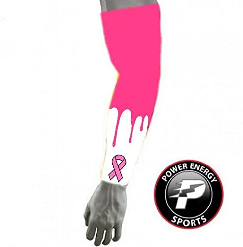 Power Energy Sports Pink Ribbon Breast Cancer Awareness Baseball Football Compression Arm Sleeve YL