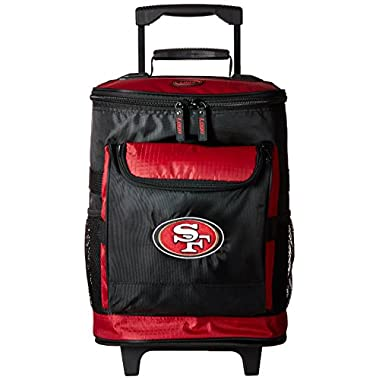 Logo Brands San Francisco 49ers 48-Can Rolling Cooler with Wheels and Backpack Straps