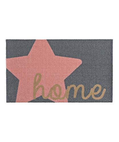Zala Living Stern Home Rosa 50x70 cm Fußmatte Schmutzfangmatte Sauberlaufmatte Türmatte dekorative Matte, Polyamid, grau pink, 50 x 70 x 0,7 cm