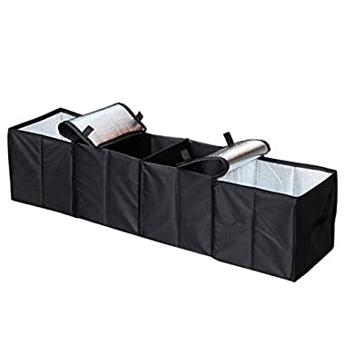Cargo Foldable Multi Compartment Fabric Car Truck Van SUV Storage Basket Trunk Organizer and Cooler Set,Black,AK-018