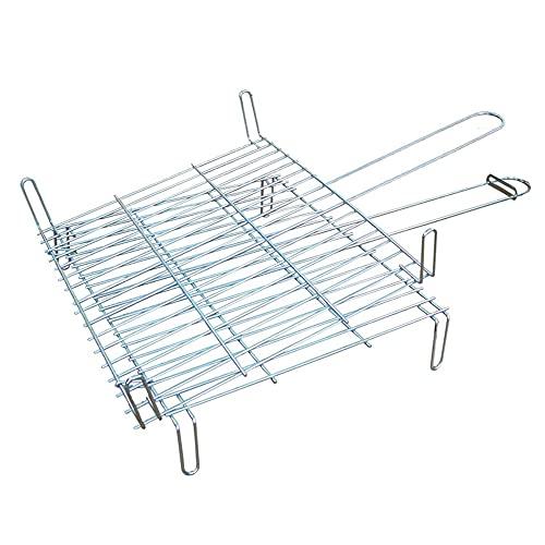 smallrun Barbecue a doppia griglia in acciaio inox per esterni, strumento da campeggio, per grigliare, pesce, 30 x 30 cm