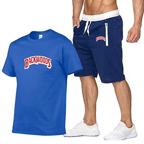 GIRLXV Camiseta Backwoods con Letras De Algodón Puro para Hombre Camiseta De Manga Corta Camiseta De Manga Corta Gimnasio Entrenamiento Traje Deportivo L