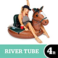 BigMouth Inc. Buckin' Bronco River Tube - Ultra Durable, Easy-Inflate Vinyl Raft with Grab n' Latch Rope and Comfy Mesh Seat, Great for River Rafting and Floating with Friends