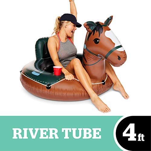 BigMouth Inc Buckin#039 Bronco River Tube  Ultra Durable EasyInflate Vinyl Raft with Grab n#039 Latch Rope and Comfy Mesh Seat Great for River Rafting and Floating with Friends