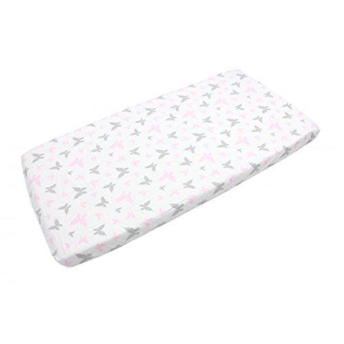 TupTam Baby Spannbetttuch mit Gummiband Gemustert ANK004, Farbe: Schmetterlingchen Rosa, Größe: 90 x 200 cm