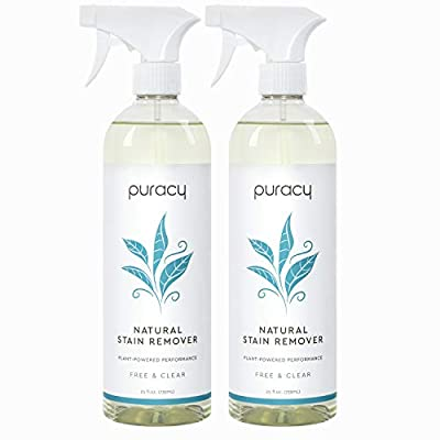 Puracy Natural Laundry Stain Remover, Enzyme-Based Cleaner, Odor Eliminator, Free & Clear, 25 Ounce (2-Pack)