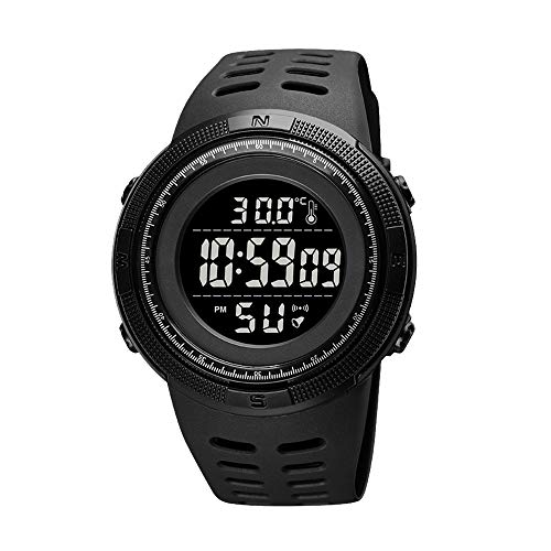 Clastyle Relojes Digital Hombre Deportivo Reloj Hombre Termómetro Multifunción Relojes Negro Impermeable con Correa de Silicona