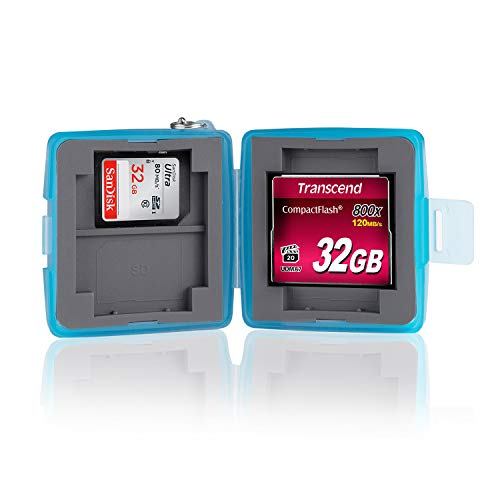 Ares Foto® Caja de protección • Almacenamiento y transporte para 4 tarjetas SD y 2 Compact Flash. Estuche: Hidrófugo y resistente a los golpes. Protección perfecta para las tarjetas de memoria.