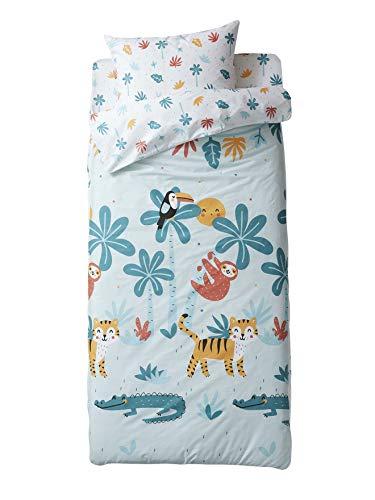 Vertbaudet Bettwäschegarnitur für Kinderbett, ohne Steppdecke, Motiv Jungle Party, Tropical Blau, 95