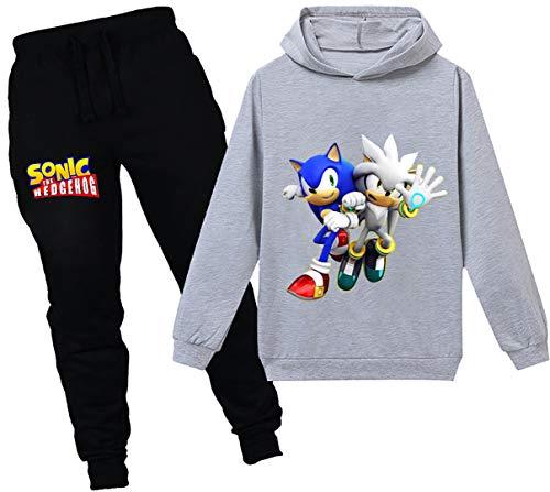 Silver Basic Nios Sudadera con Capucha y Pantalones Traje Sonic The Hedgehog Sudadera con Capucha para Nios Juego Disfraz De Sonic Personajes de la Pelcula 120,Gris Sonic&Silver-2