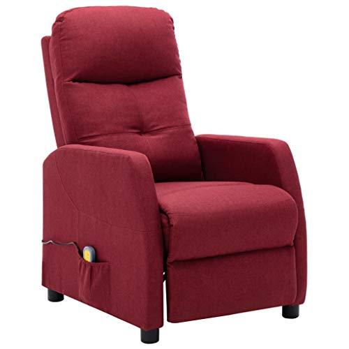 vidaXL Sillón Reclinable con Reposapiés Respaldo Ajustable Silla Asiento Salón Oficina Relax Mueble Elevador Ergonómico Cómoda de Tela Rojo Tinto