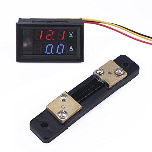 Multimeter Voltmeter Amperemeter, Droking DC 12V/24V 50A Car Voltmeter Ampere Meter Volt Amp Detector Ampere Voltage Gauge, Strommesser Stromspannung Prüfer for Autobatterie Auto Car (+ Shunt)