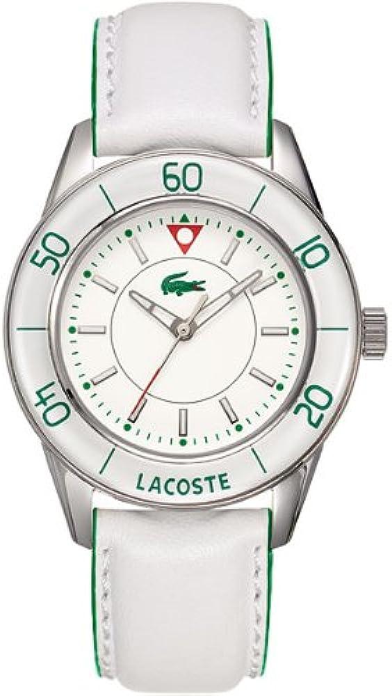Lacoste,orologio analogico al  quarzo per donna, con cinturino in pelle e cassa in acciaio 2000558