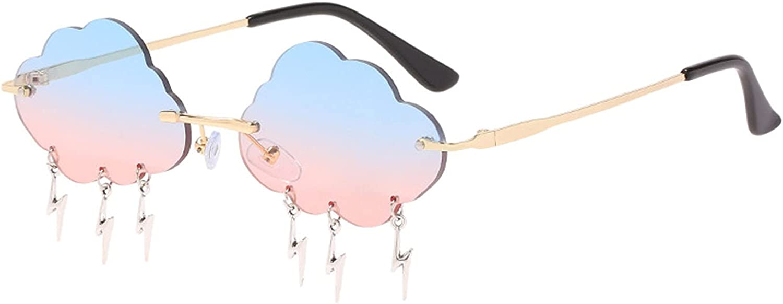 Gafas de Sol para Mujer, 1 Pieza Gafas de Sol Sin Montura, Moda Creativos Gafas de Sol, Gafas de Sol Novedad, UV400 Protección Gafas de Sol, con Forma de Nube con Colgantes, para Mujeres