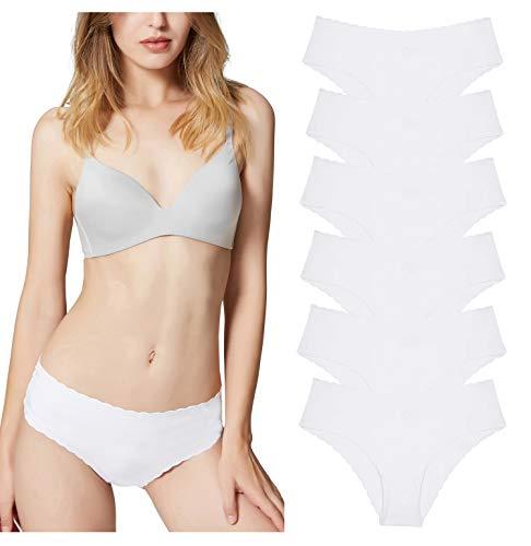 Misolin Damen Slips Nahtlos Unterwäsche Bikinis Taillenslips Seamless Unsichtbare Dehnbare Bequeme Panties Hipsters 6 Pack Weiß XS