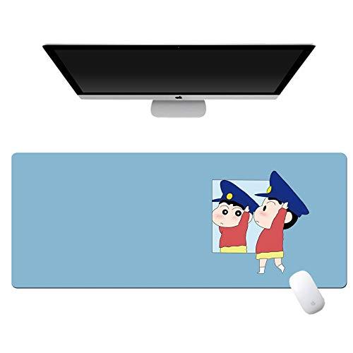 yinying Alfombrilla de ratón de Anime,Crayon Shin-Chan Anime Alfombrilla de ratón Teclado de computadora Escritorio-Saludo Azul_800x300mm_3 mm