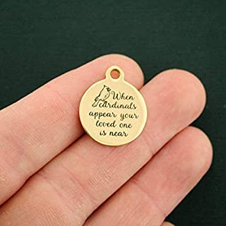 Memorial Gold Stainless Steel Charm When Cardinals Appear - BFS2842GOLD - Jewelry Accessories Chain Bracelet Necklace Pendants