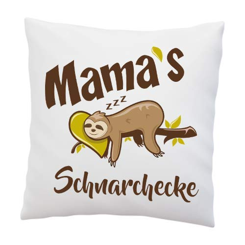 Liebtastisch Kissen mit Spruch - Mama´s Schnarchecke - Faultier - Kissenbezug mit Füllung - Muttertag - Geburtstag - Geschenk Beste Mama - Deko Kissen - weiß 40cmx40cm