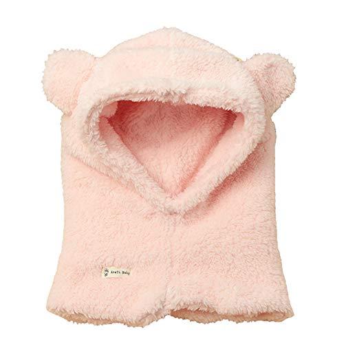 Boomly Boomly Baby Wintermütze Nackenwärmer Ohrenklappen Warm Kapuzen Schal Beanies Hüte Nettes Ohr Plüsch Verdicken Absicherungskappe Anzug für 1-6 Jahre alt (Rosa, 4-6 Jahre altes)