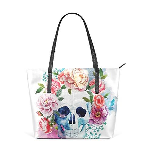 NR Multicolour Fashion Damen Handtaschen Schulterbeutel Umhängetaschen Damentaschen,Lustiger Schädel mit buntem Blumenkopf-Grafik-Kunstdruck im viktorianischen Stil
