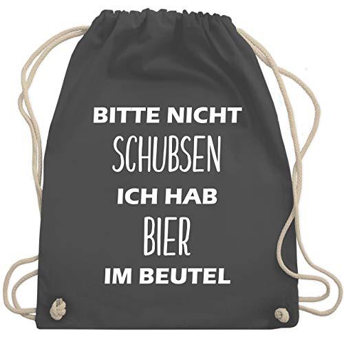 Shirtracer Festival Turnbeutel - Bitte nicht schubsen ich hab Bier im Beutel - Unisize - Dunkelgrau - turnbeutel nicht schubsen - WM110 - Turnbeutel und Stoffbeutel aus Baumwolle