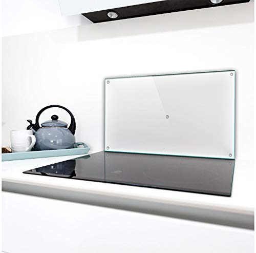TMK | Placa protectora de una sola pieza 90 x 52 cm para vitrocerámica, protección contra salpicaduras, placa de cristal, cubierta transparente